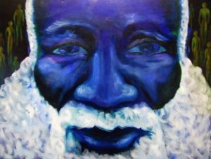 Obatala god of the orishas, oil on 36x48 gallery wrapped canvas