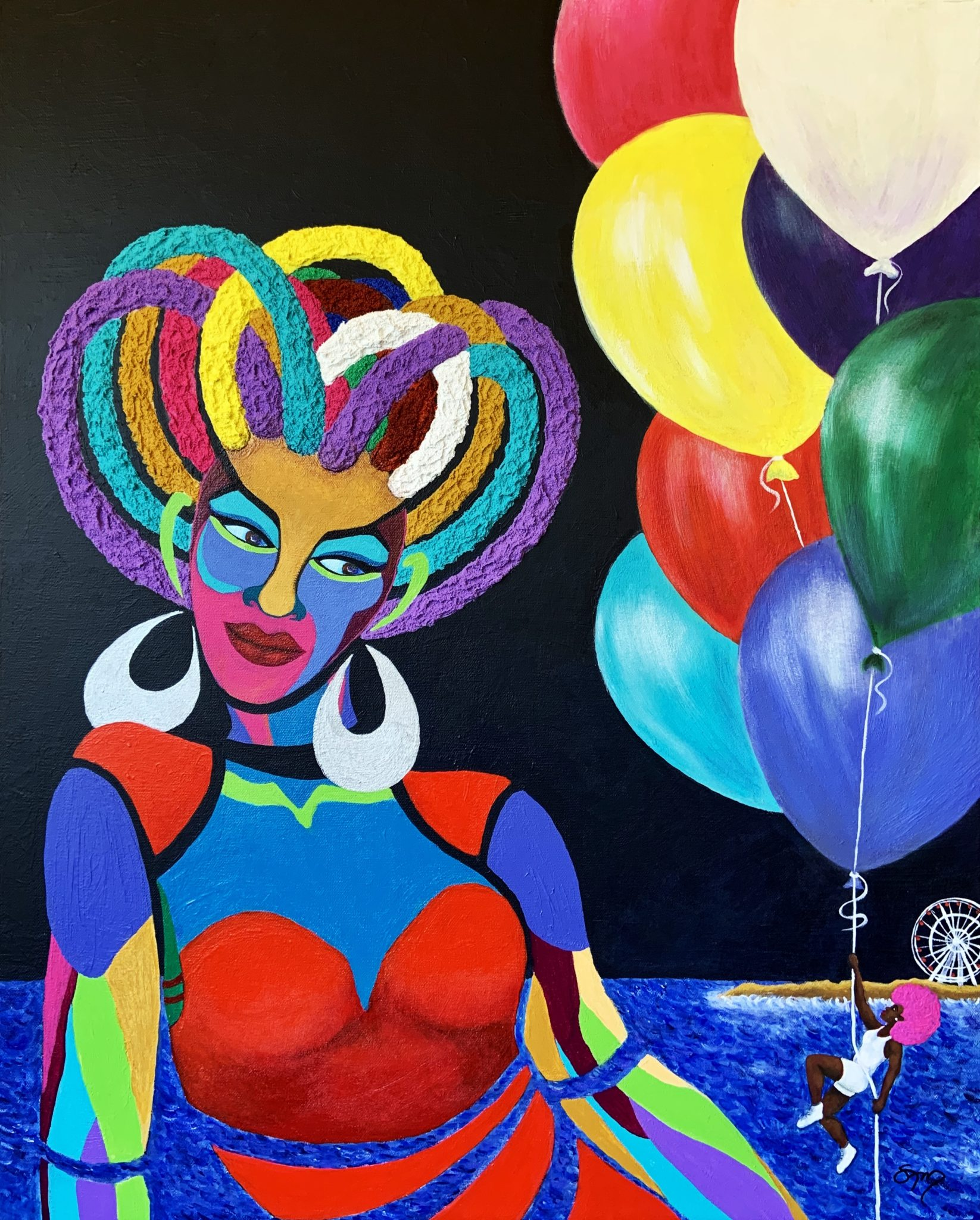 Paper Doll and Live Girl with Balloons, acrylic on 24x30 gallery wrapped canvas